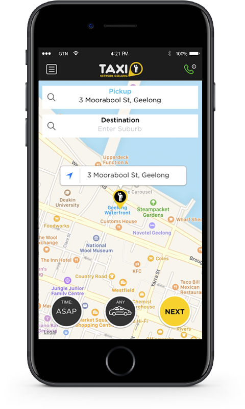 iPhone with Geelong Taxi app